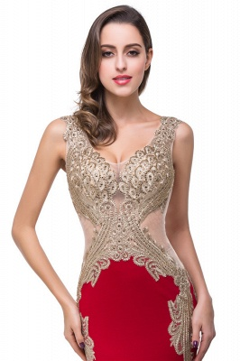 Mermaid V-Neck Sweep-length Red Formal Dresses With Applique