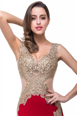 V-Neck Sweep-length Red Formal Dresses With Applique