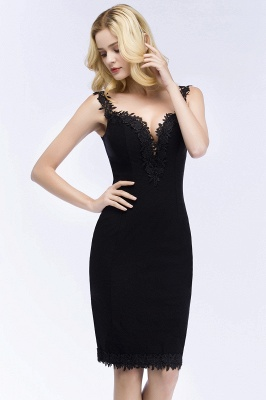 PAIGE | Mermaid Knee Length Sweetheart Sleeveless Black Appliques Homecoming Dresses