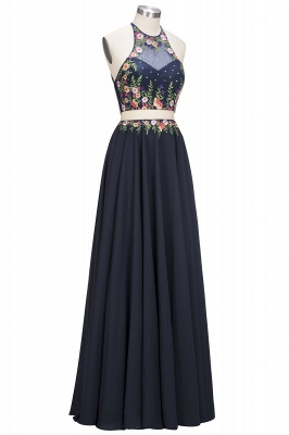 ROSIE | A-line Two-piece Sleeveless Long Flowers Appliques Prom Dresses