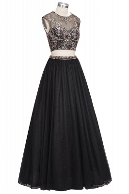 ROSITA | A-line Two-piece Floor Length Sleeveless Crystals Patterns Prom Dresses