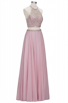ROSETTA | A-line Two-piece Floor Length Crystals Beading Chiffon Prom Dresses